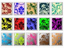 Modern stamps. Colorful modern design stamp set stock illustration