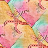 Modern starfish seamless  watercolor artist wallpaper texture of Stock Images