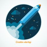 Modern startup concept with starting pen rocket Royalty Free Stock Photo