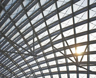 Modern station roof steel construction organization Royalty Free Stock Photography