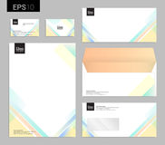 Modern stationery set in vector format, letterhead, business car Stock Image