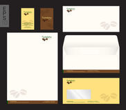 Modern stationery set in vector format, letterhead, business car. D, envelope coffee theme vector illustration