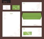 Modern stationery set in vector format, letterhead, business car. D, envelope floral theme royalty free illustration