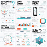 Modern statistics and info graphic vector elements for business Royalty Free Stock Photography