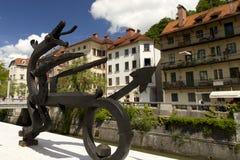 Modern statue of dragon in Ljubljana Stock Images