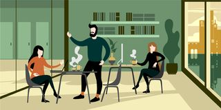 Modern stedelijk het bureaubinnenland van de eco groen werkruimte stock illustratie