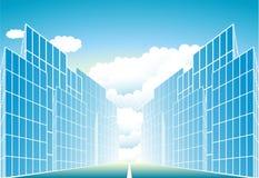 Modern stedelijk landschap met zon en wolk Stock Foto's