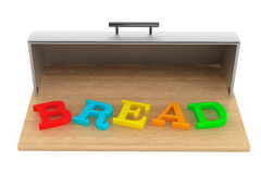 Modern steel bread bin with bread sign Stock Images