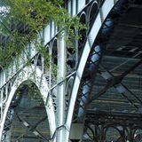 Modern steel bridge structure stand. Ing Stock Image
