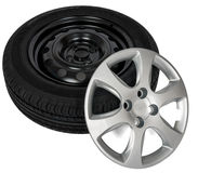 Modern steel car wheel with plastic cover. On white background stock photos