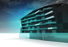 Modern steel glass architecture design. Illustration Royalty Free Stock Images