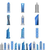 Modern steel and glass skyscraper set. Urban tall building with multiple floors, city architecture. Vector flat style illustration  on white background Stock Image