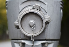 Modern steel hydrant outdoors. Close-up Stock Image