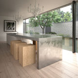 Modern steel kitchen island. Contemporary minimalist kitchen in modern house (3D render Stock Photos
