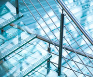 Modern steel railings and stairs made of glass Royalty Free Stock Photos