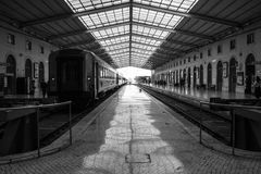 Modern steel-style lisbon train station royalty free stock photo