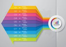 Modern 10 steps arrow chart design element. EPS10. 10 arrow steps timeline infographic element. 10 steps infographic, vector banner can be used for workflow vector illustration