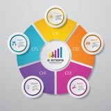 Modern 5 steps cycle chart infographics elements. EPS 10 royalty free illustration