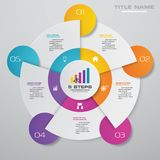 Modern 5 steps cycle chart infographics elements. EPS 10 stock illustration