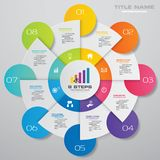 Modern 8 steps cycle chart infographics elements. EPS 10 royalty free illustration