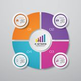 Modern 4 steps cycle chart infographics elements. EPS 10 royalty free illustration