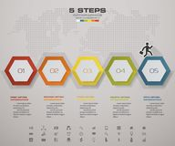 Modern 5 steps infographics for your idea and presentation. EPS 10 Stock Image