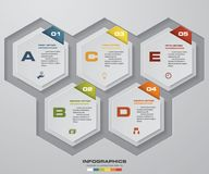 Modern 5 steps process. Simple&Editable abstract design element. EPS10 Stock Images