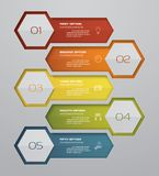 Modern 5 steps process. Simple&Editable abstract design element. EPS10 stock illustration