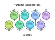 Modern 8 steps timeline infographic template. Linear flat style. Business presentation concept. Vector illustration Royalty Free Stock Image