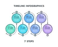 Modern 7 steps timeline infographic template. Linear flat style. Business presentation concept. Vector illustration Stock Images