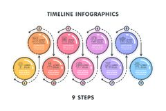 Modern 9 steps timeline infographic template. Linear flat style. Business presentation concept. Vector illustration Stock Photo