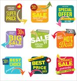 Modern stickers and tags collection  illustration Stock Image