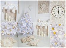 Modern stijlbinnenland van open haard met Kerstmisboom Stock Fotografie
