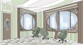 Modern stil för inre grafisk barberaregräsplan royaltyfri illustrationer