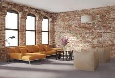Modern stilfull vindinre, tegelstenväggar, orange soffa Arkivfoton