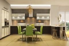 Modern stilinre av vardagsrum med köket i ljusa färger med gröna brytningar royaltyfri illustrationer