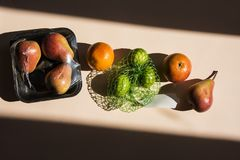 Free Modern Still Life With Healthy Food And Plastic Pack. Stock Photo - 143438680