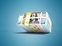 Modern stock of dollars fell from above 3d rendering on blue background with shadow. Modern stock of dollars fell from above 3d rendering on blue background stock illustration