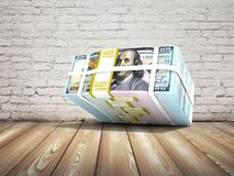 Modern stock of dollars fell from above 3d rendering on a brick. Background with shadow vector illustration
