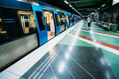 Modern Stockholm Metro Train Station in Blue Stock Photography
