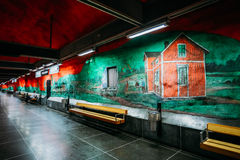 Modern Stockholm Metro Train Station in red and Royalty Free Stock Photography