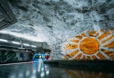 Modern Stockholm Metro Train Station, Sweden. Underground, Tunne Royalty Free Stock Photos