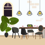 Modern stol för mötematsal i tomt funktionsdugligt utrymme med lampan och växten Royaltyfri Fotografi