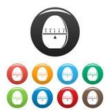 Modern stopwatch icons set color. Modern stopwatch icons set 9 color vector isolated on white for any design royalty free illustration