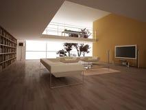 Modern stor vardagsrum. Royaltyfria Foton