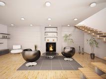 modern strömförande för interior 3d framför lokal Arkivfoto