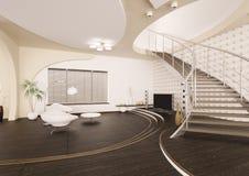 modern strömförande för interior 3d framför lokal Arkivbilder