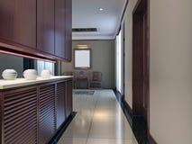 modern strömförande för interior 3d framför lokal Royaltyfri Illustrationer