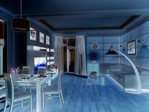modern strömförande för interior för design 3d framför lokal 3d framför Arkivfoto