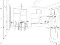 modern strömförande för interior för design 3d framför lokal 3d framför Royaltyfri Fotografi